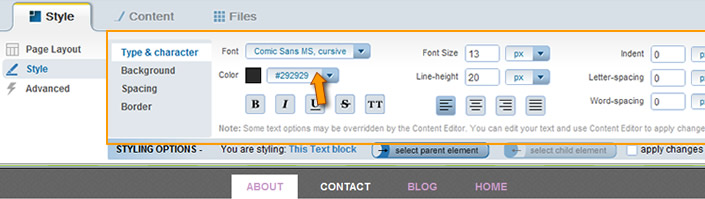Edit Appearance Font