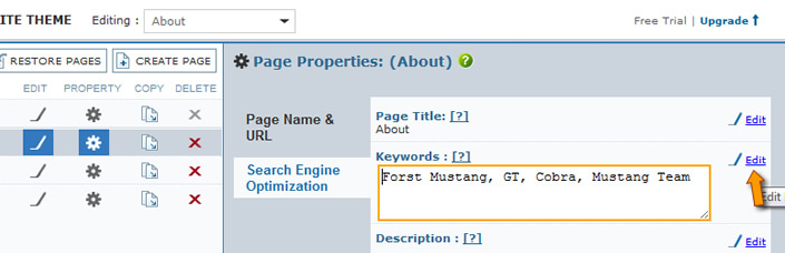 Manage Pages Panel