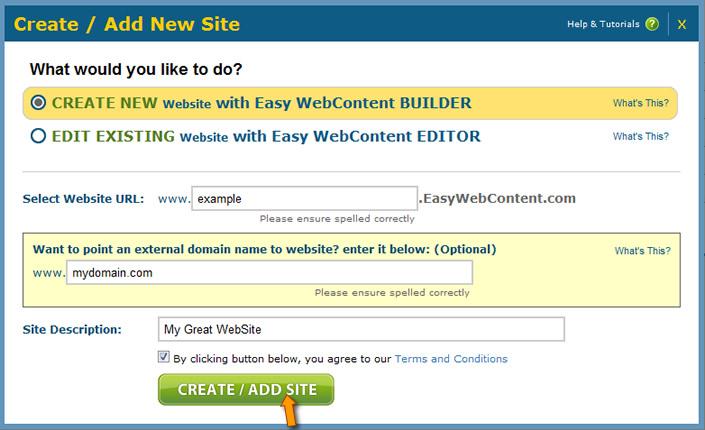 Site Builder Create